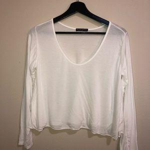 4/25 Brandy Melville White Long Sleeved Crop Top